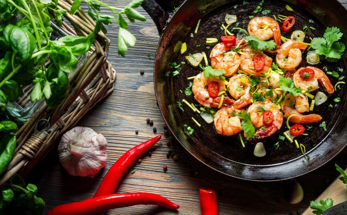 shrimp pepper chili garlic herbs pan wallpaper