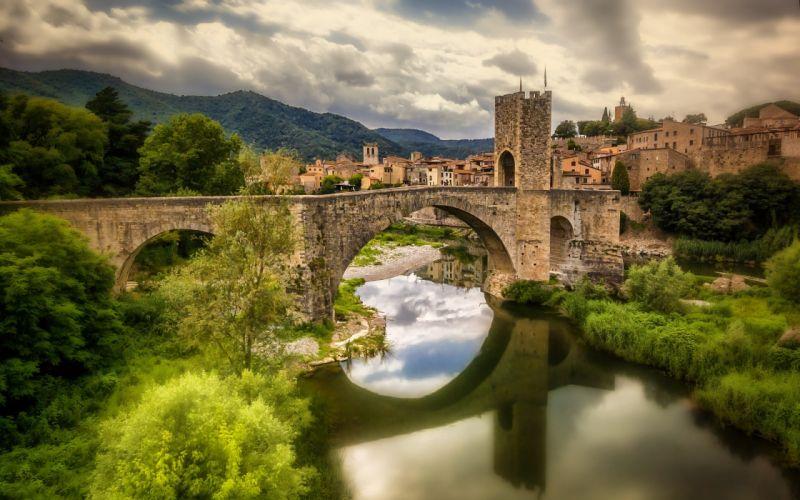 Spain Fluvia river bridge wallpaper