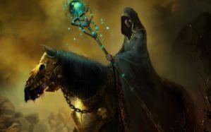 Art Horse Armor Mage Warlock Coat Stick Magic Hood Wallpaper