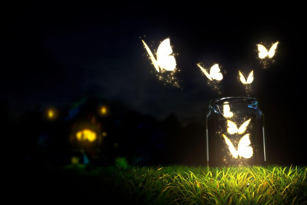 beautiful glowing butterflies grass bottle blur ground night dark sky macro nature beautiful glowing butterflies grass bottles blur earth night dark sky macro nature bokeh wallpaper