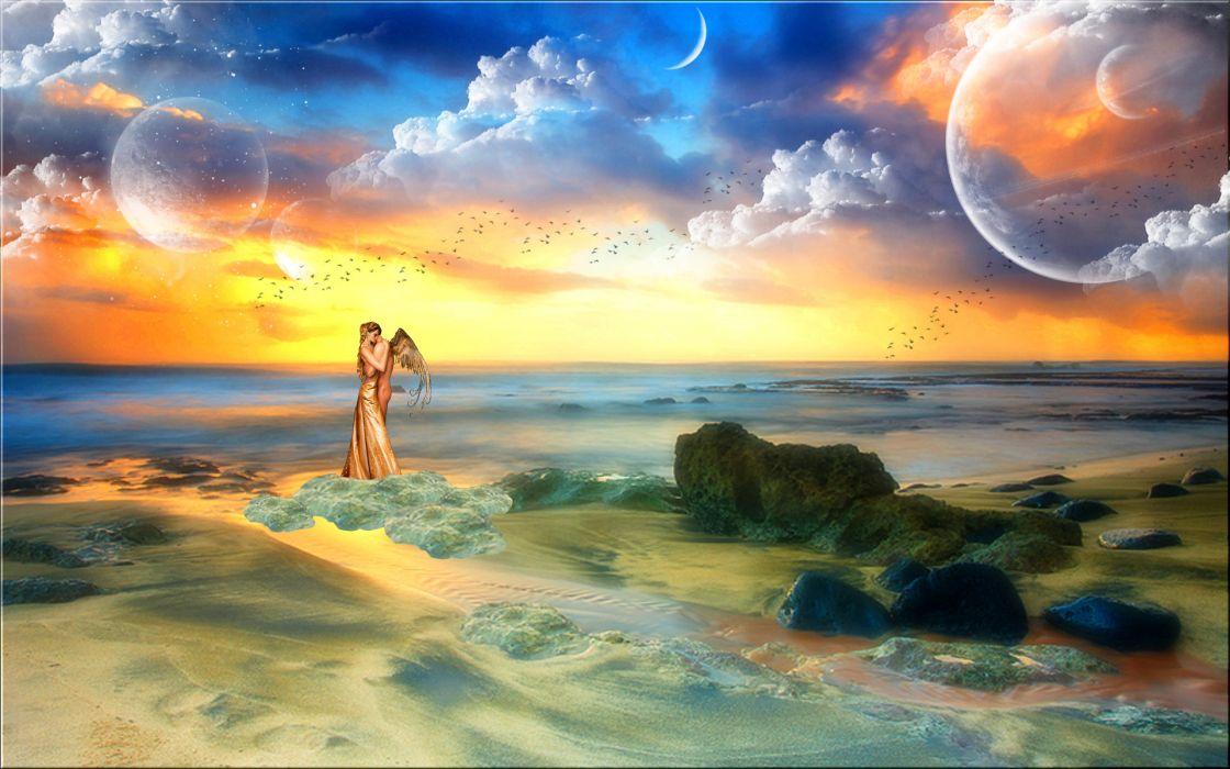 fantasy love love angel boy girl man wings hugging sea ocean rocks planets sky clouds birds horizon mood wallpaper