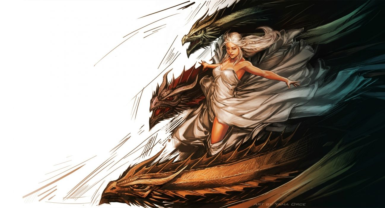 Game of thrones Daenerys Targaryen painting art dragons dragon fantasy wallpaper