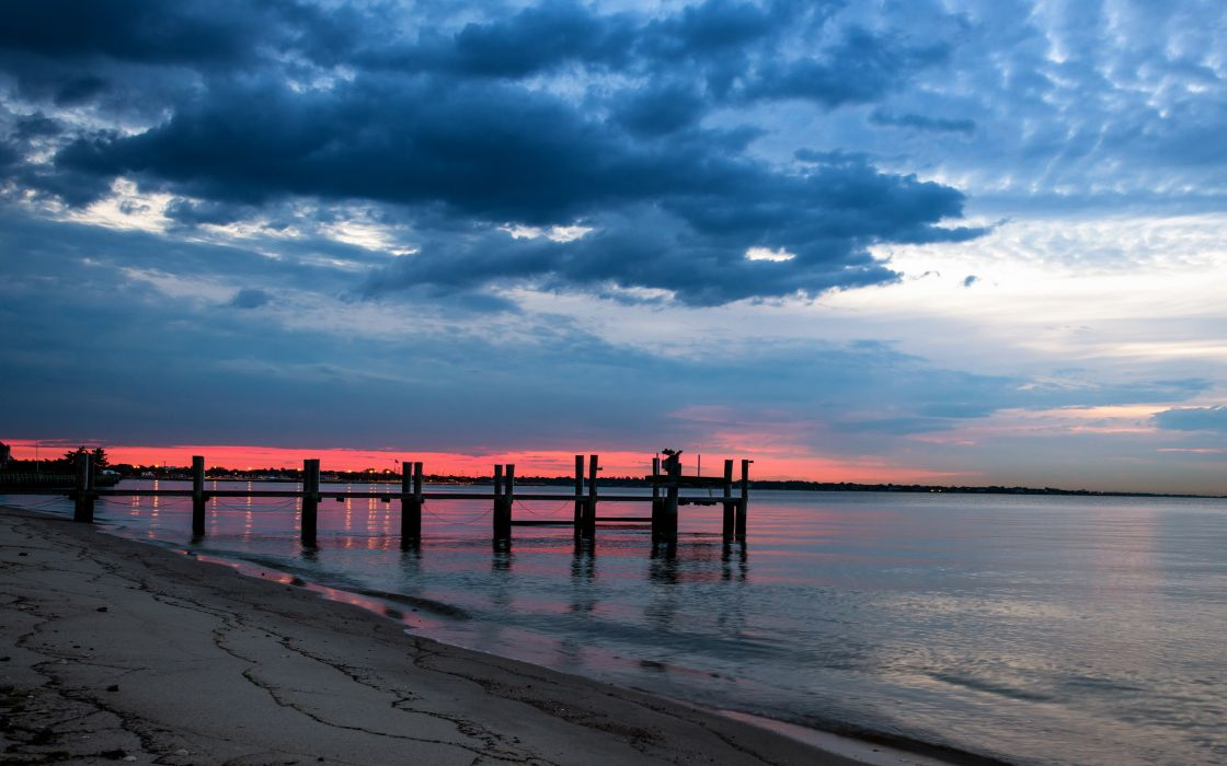 Night Sea Bridge Sky Landscape Ocean Beach Sunset Wallpaper