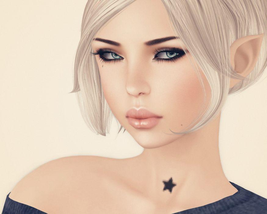 render girl face star blonde elf elves wallpaper
