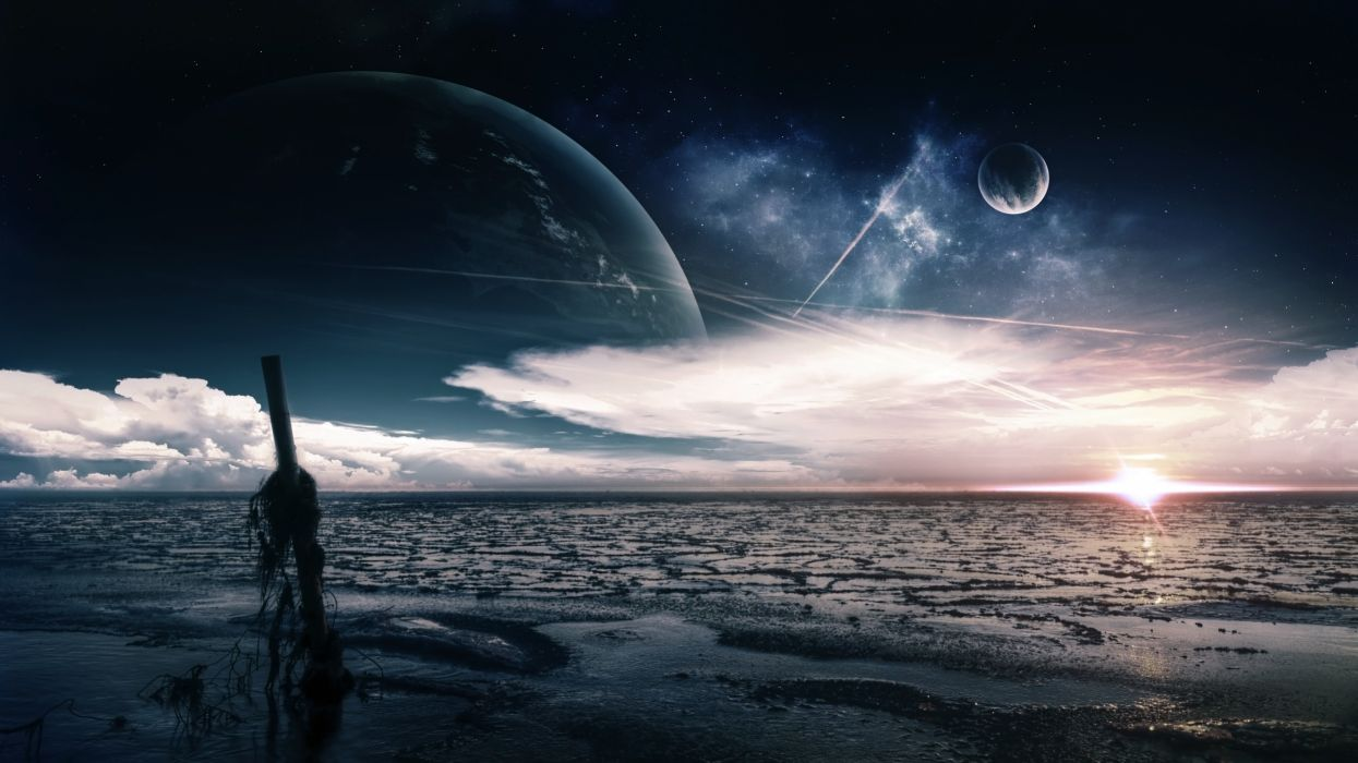 sea coast post planet sky clouds wallpaper