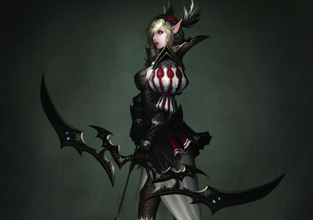 Atlantica Online Warriors Archers Games Girls Fantasy warrior elf elves wallpaper