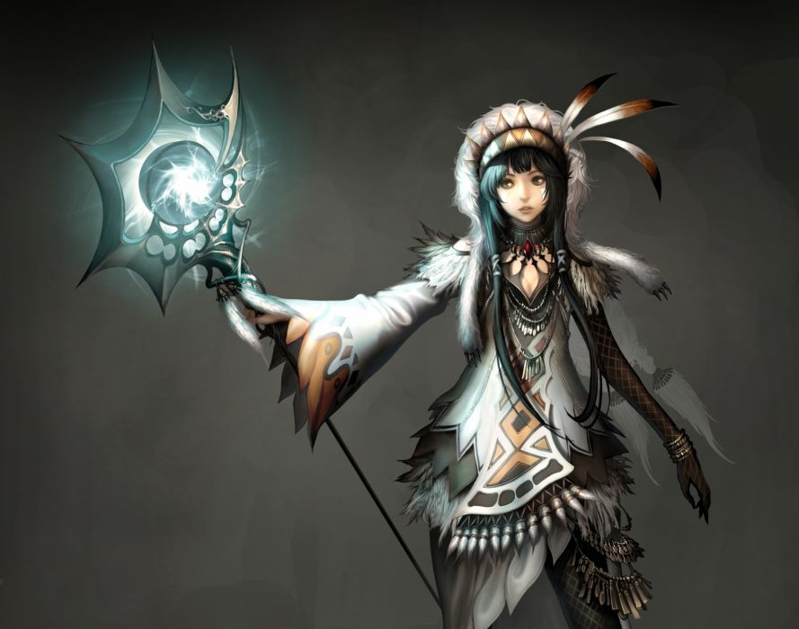 Atlantica Online Warriors Mage Staff Games Girls Fantasy warrior magic wallpaper