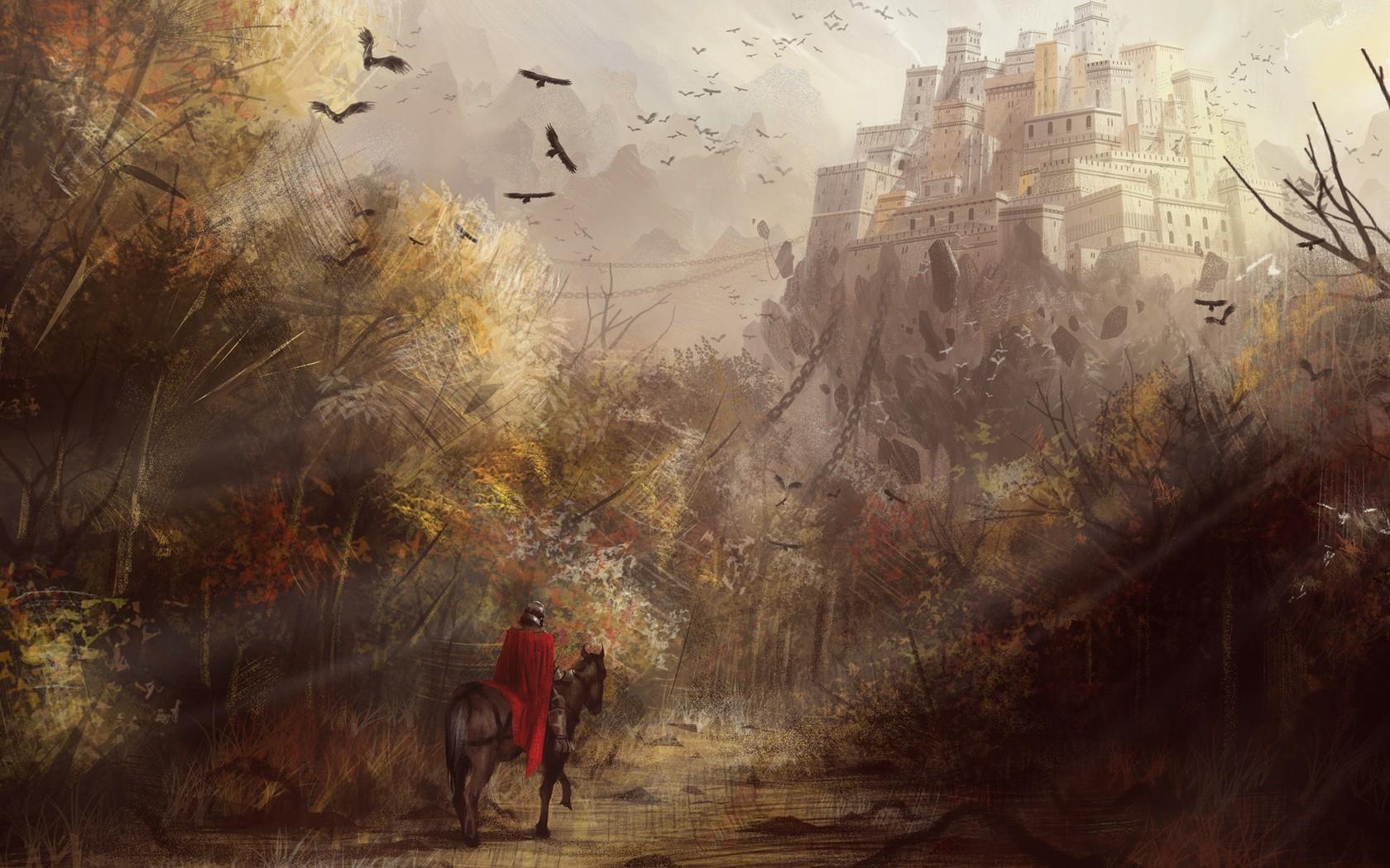 castle drawing knight medieval trees birds wallpaper