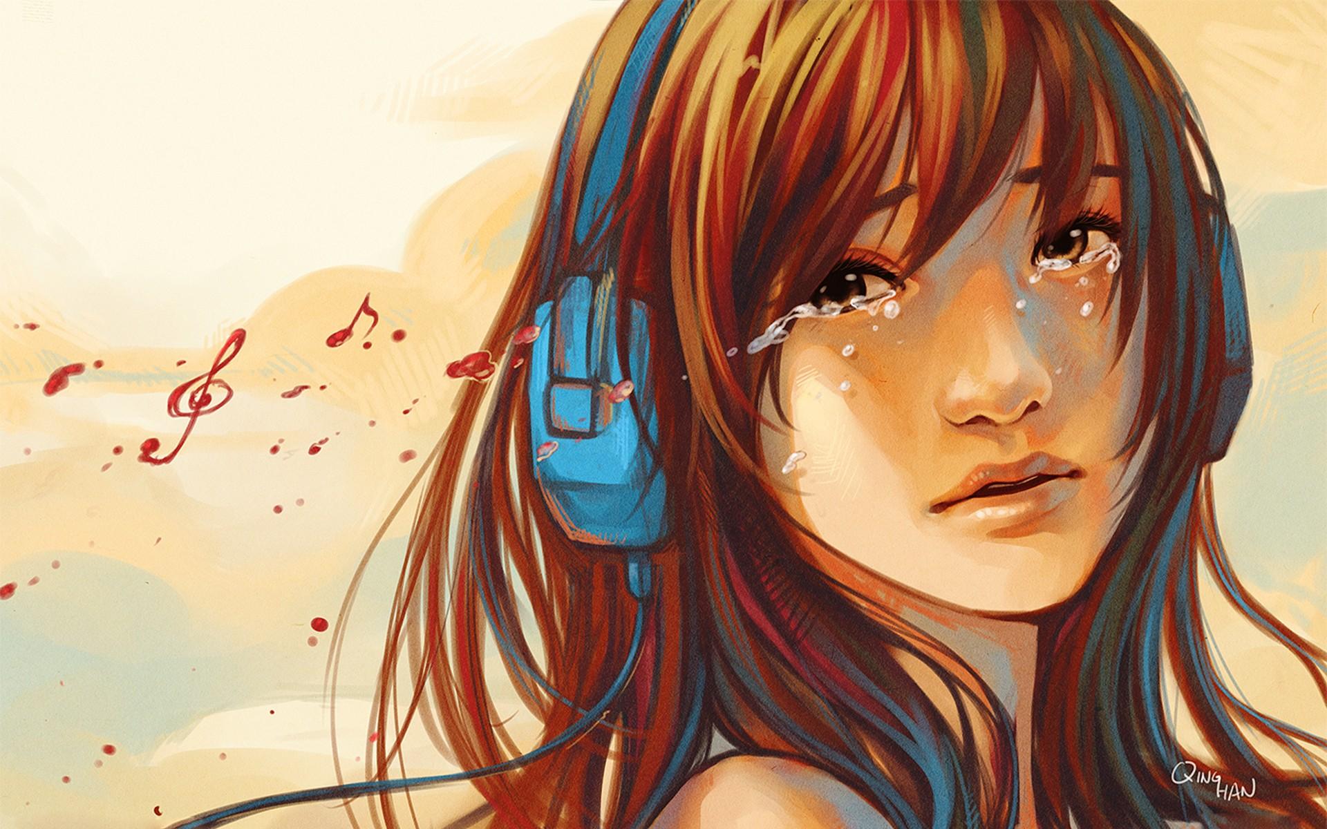 Headphones face drawing cry sad mood wallpaper 1920x1200 - Portrait anime wallpaper ...