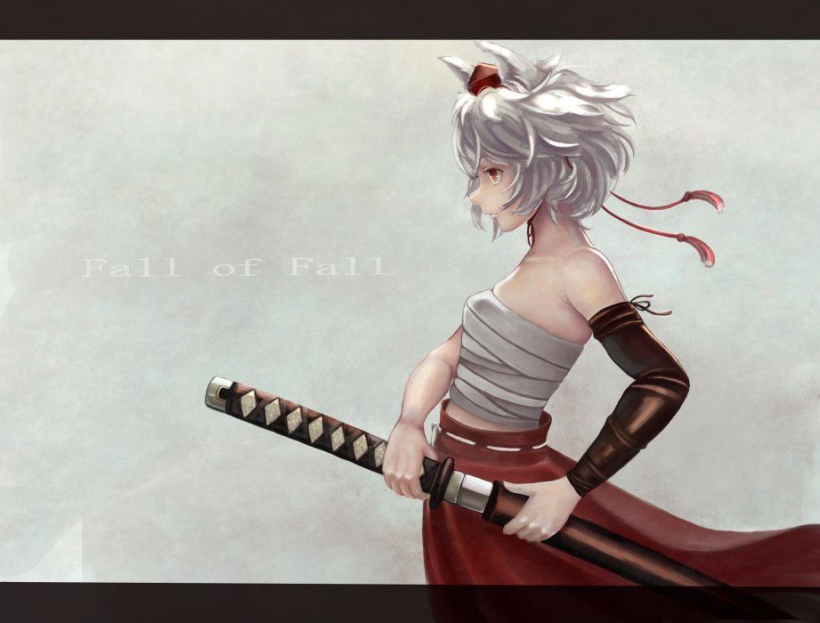 touhou animal ears inubashiri momiji katana sashimi (adam026) short hair sword touhou weapon white hair wallpaper