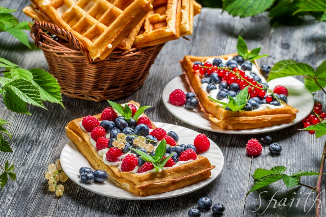 waffles berries currants raspberries blueberries dessert wallpaper
