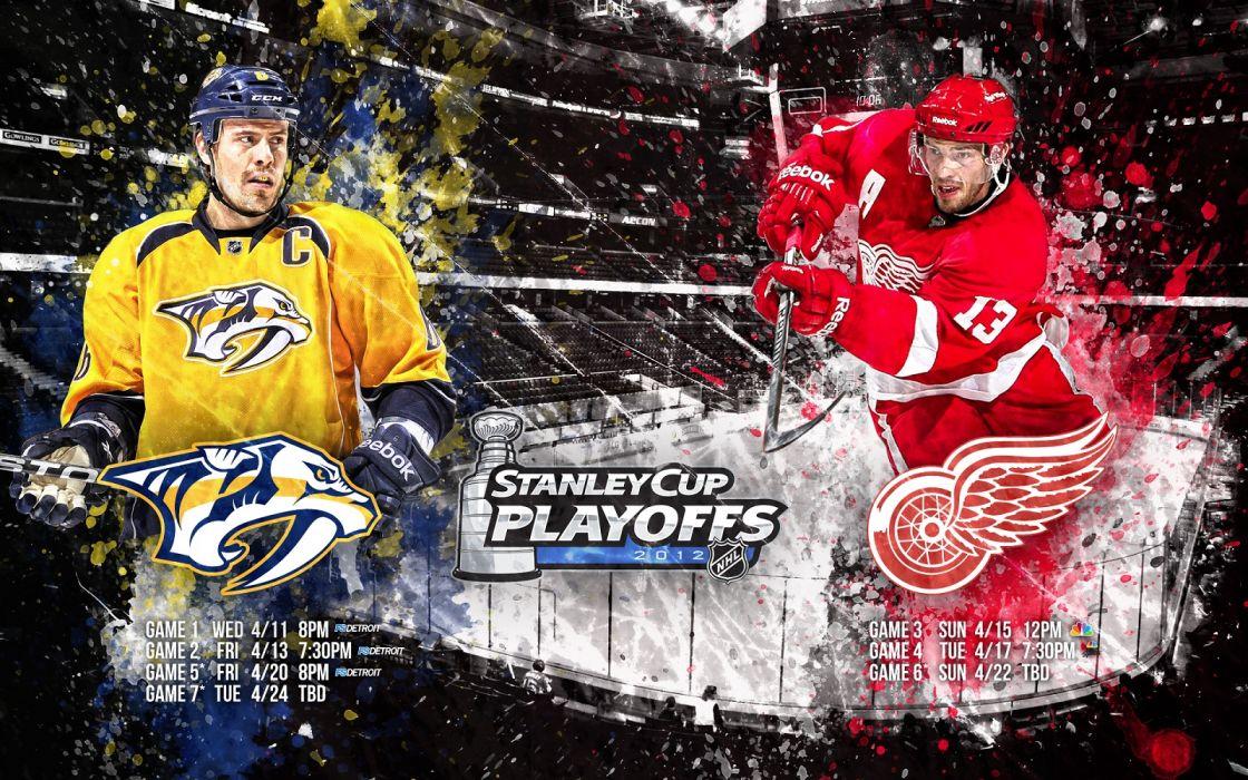 hockey Deroit Red Wings VS Nashville Predators wallpaper