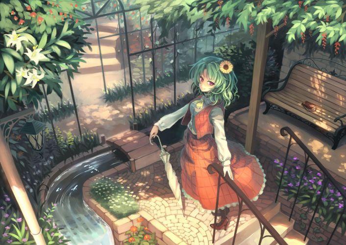 touhou book dress flowers green hair kazami yuuka orita enpitsu red eyes stairs touhou umbrella water wallpaper