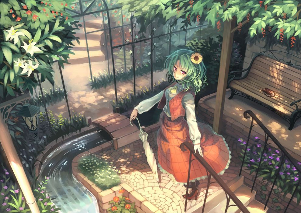 touhou book dress flowers green hair kazami yuuka orita enpitsu red eyes stairs touhou umbrella water wallpaper