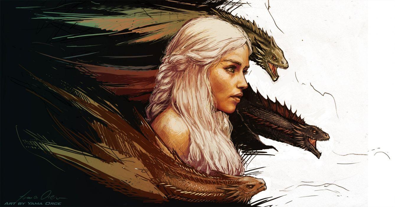 Game of thrones Daenerys Targaryen art fantasy dragon dragons wallpaper