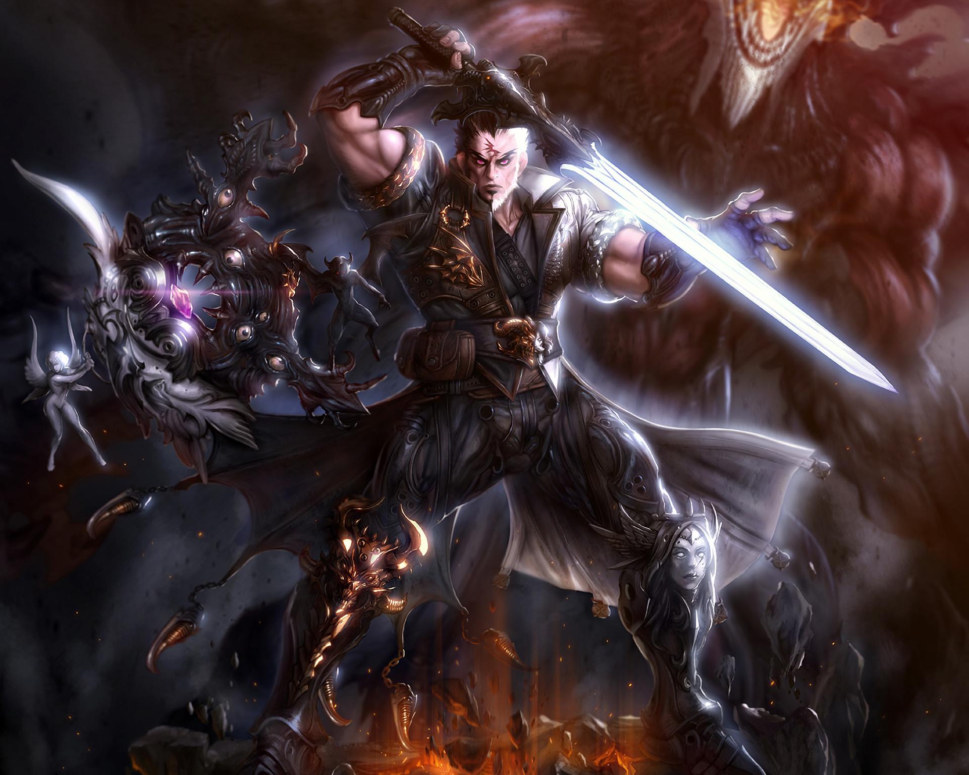 warrior angel demon crystal armor sword fire warriors wallpaper    Angel Warriors Vs Demons