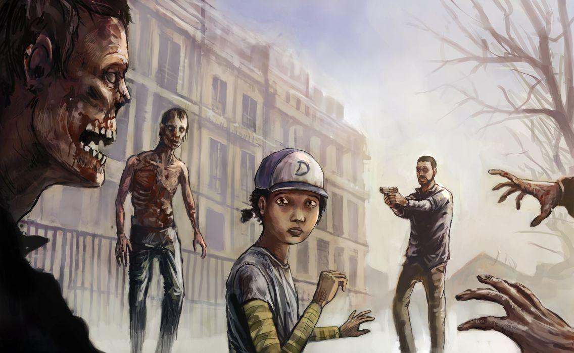 The Walking Dead art girl man zombies building zombie wallpaper