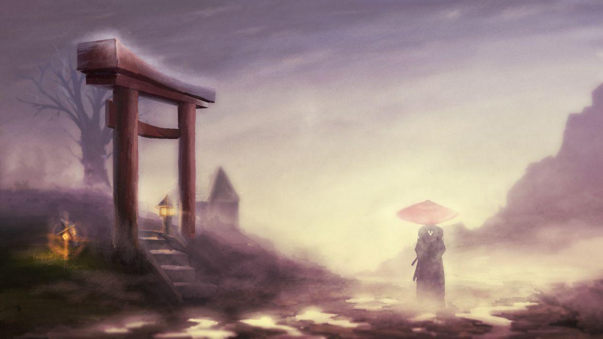 samurai champloo landscape gates jin fog wallpaper