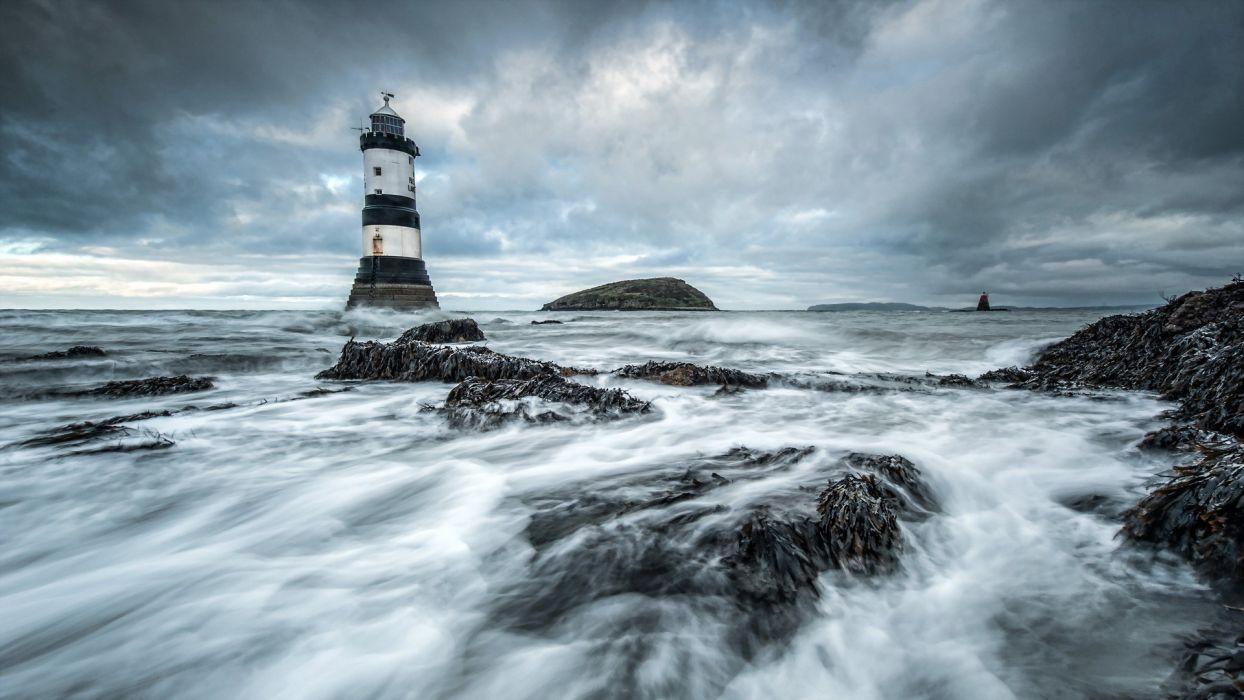 sea aeYaeY lighthouse  landscape wallpaper