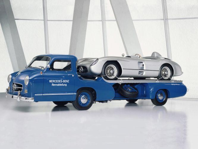 1954 Mercedes Benz Blue Wonder Transporter towtruck retro f wallpaper