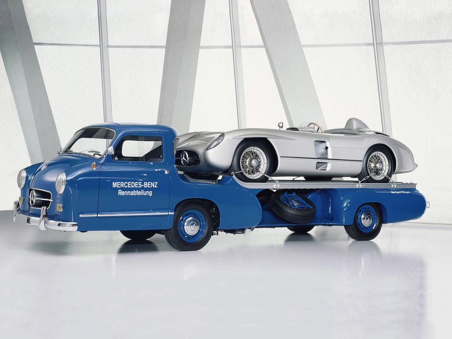 1954 Mercedes Benz Blue Wonder Transporter towtruck retro      f wallpaper