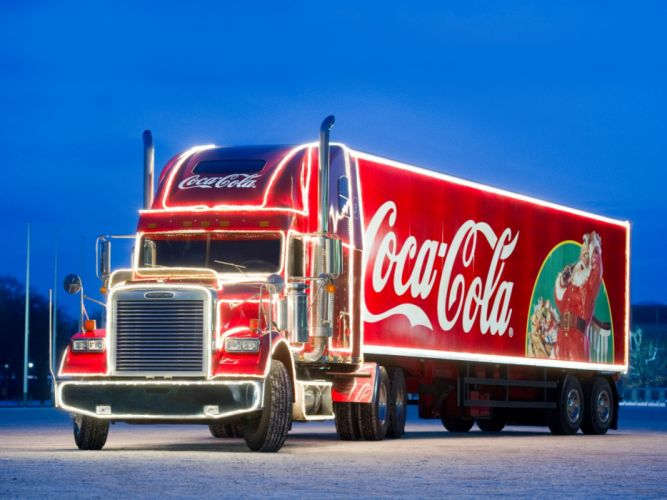 2009 Freightliner Classic Coca Cola Christmas semi tractor drink wallpaper