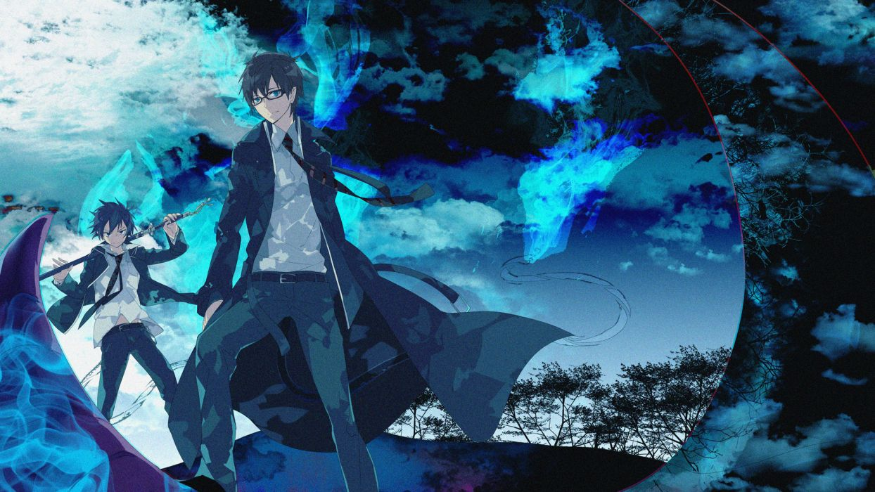 ao no exorcist emonak glasses male okumura rin okumura yukio sword weapon ao-no-exorcist dark wallpaper