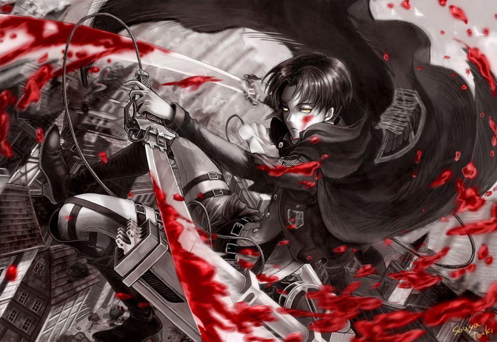 shingeki no kyojin blood polychromatic rivaille shingeki no kyojin souya touki sword weapon yellow eyes wallpaper