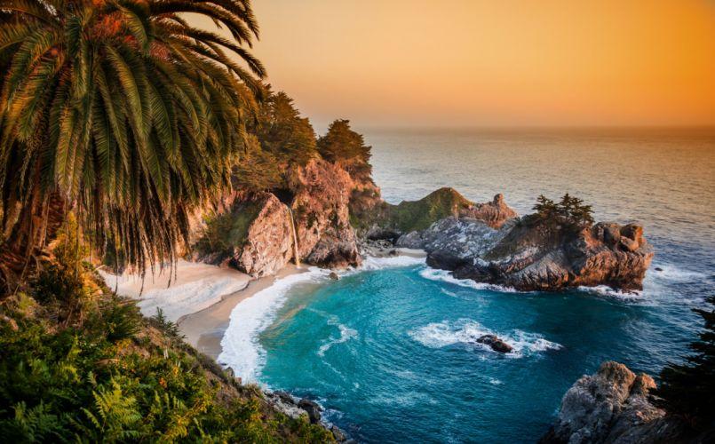 California Pacific Ocean waterfall wallpaper