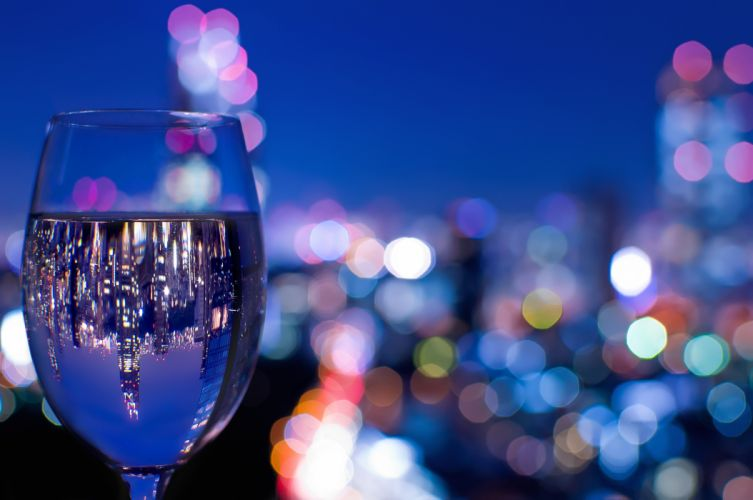 glass wine glass glass reflection night city Tokyo Japan reflections bokeh close-up wallpaper