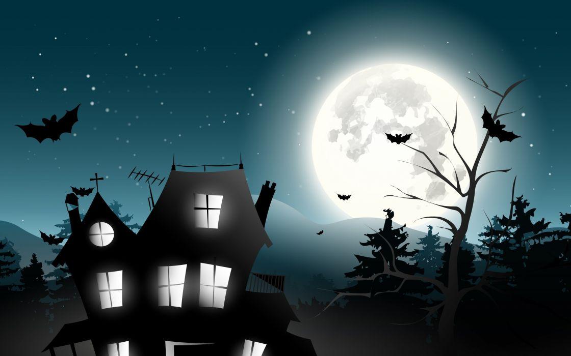 holiday halloween scary house horror creepy full moon castle trees bat vector midnight holiday Halloween horror house horror spooky full moon castle trees bat vector midnight wallpaper