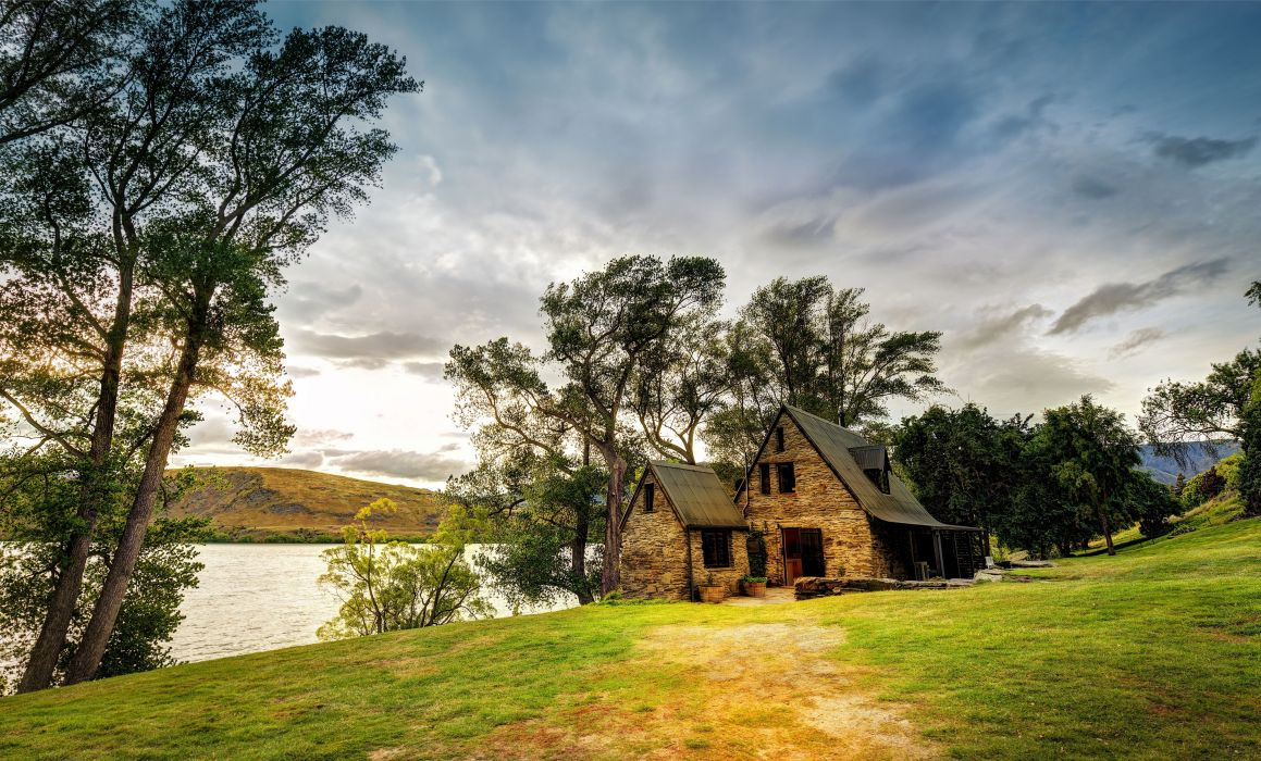New Zealand house lake trees landscape wallpaper
