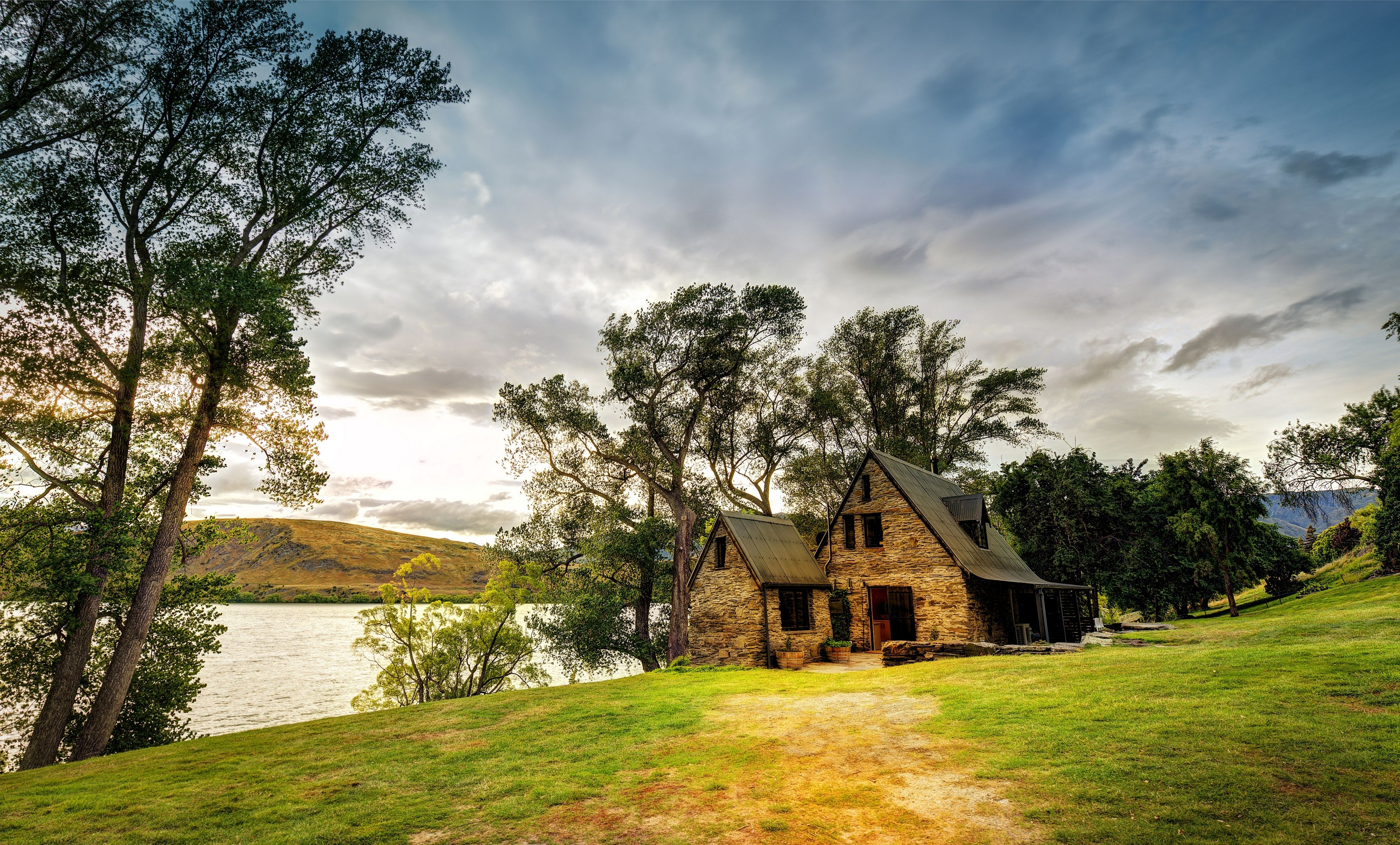 New zealand house lake trees landscape wallpaper for Classic house landscape