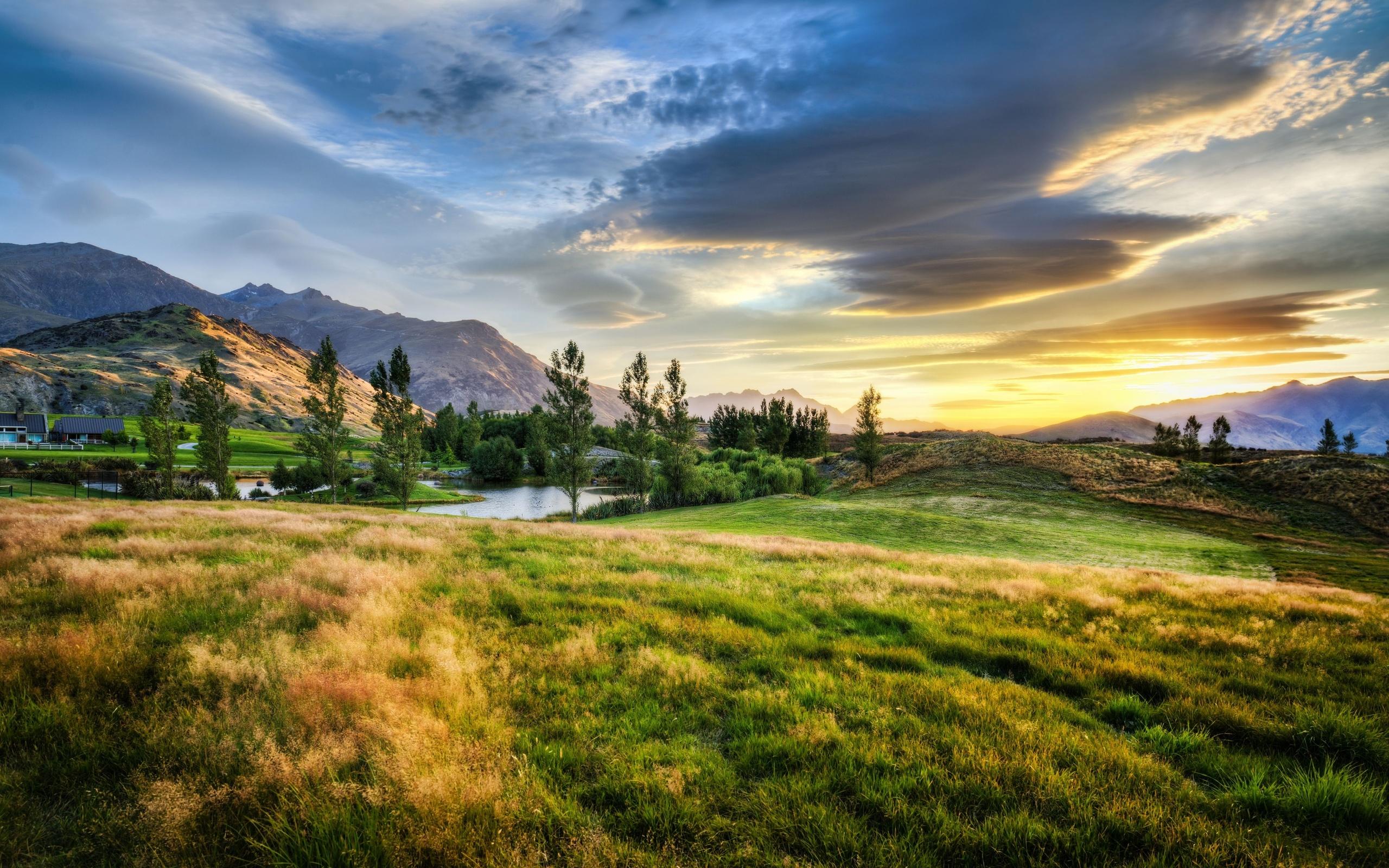 New zealand sunset prairie mountains pond landscape wallpaper 2560x1600 132739 wallpaperup - Photo wallpaper ...