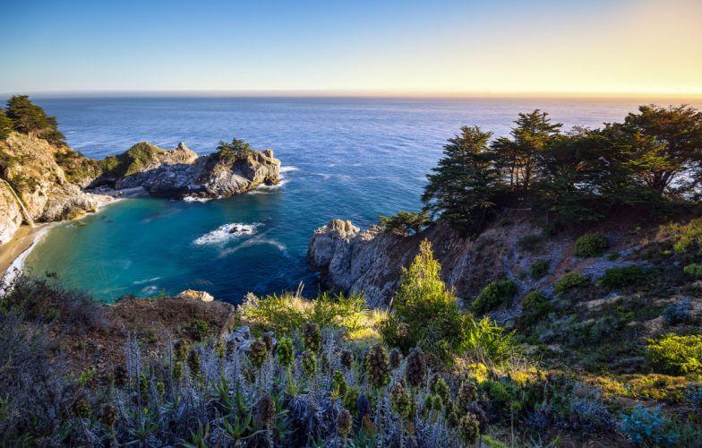 ocean bay california rocks nature wallpaper