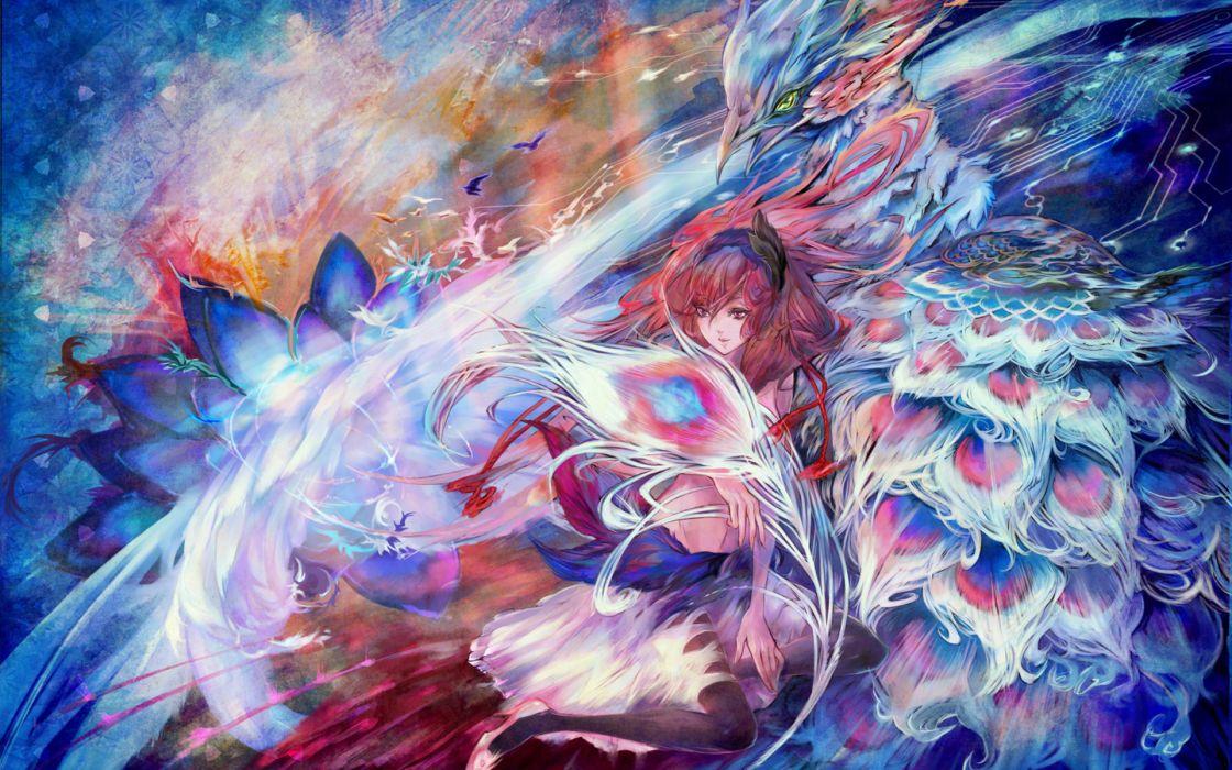 original fantasy Light Night Birds Phoenix Fantasy Art Digital Art Artwork wallpaper
