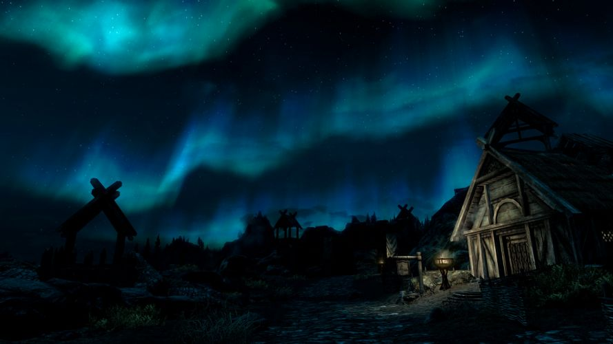 Aurora Borealis Northern Lights Night Skyrim Elder Scrolls Stars wallpaper