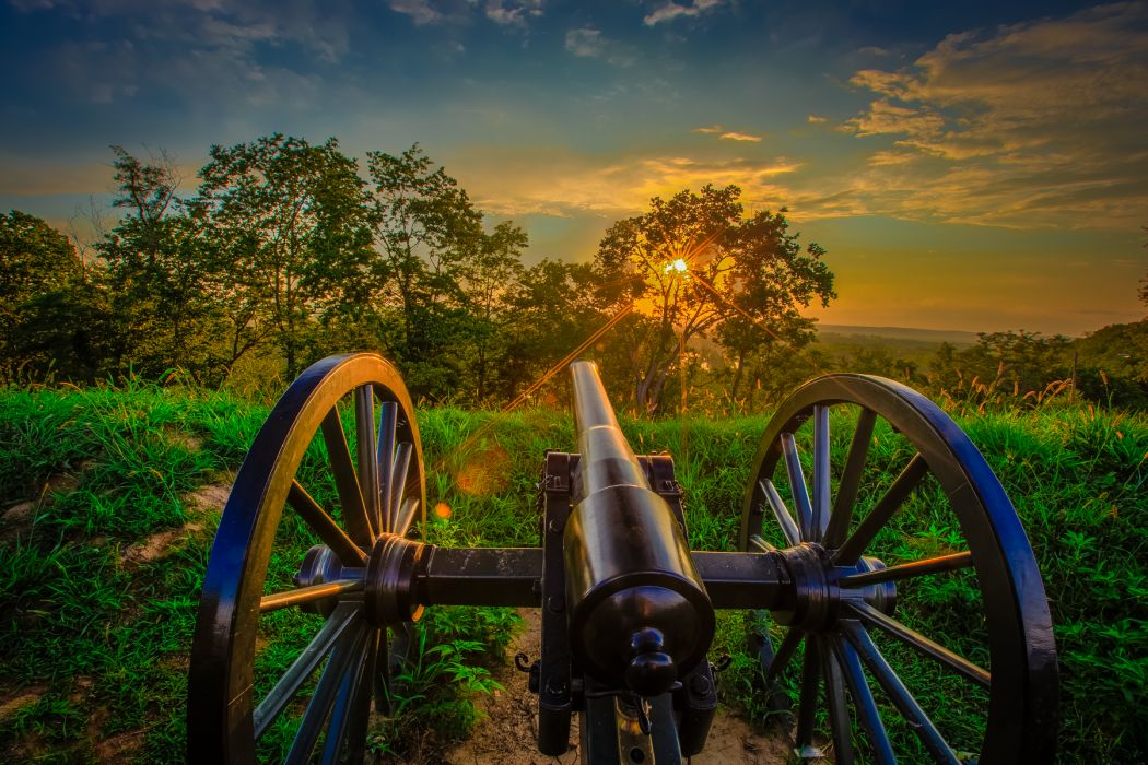 Cannon Sunlight Trees Grass HDR military wallpaper