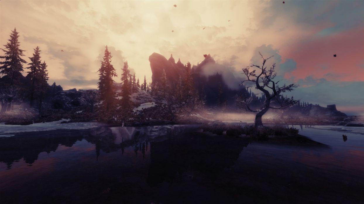 Skyrim Elder Scrolls Landscape Mountains Lake   j wallpaper