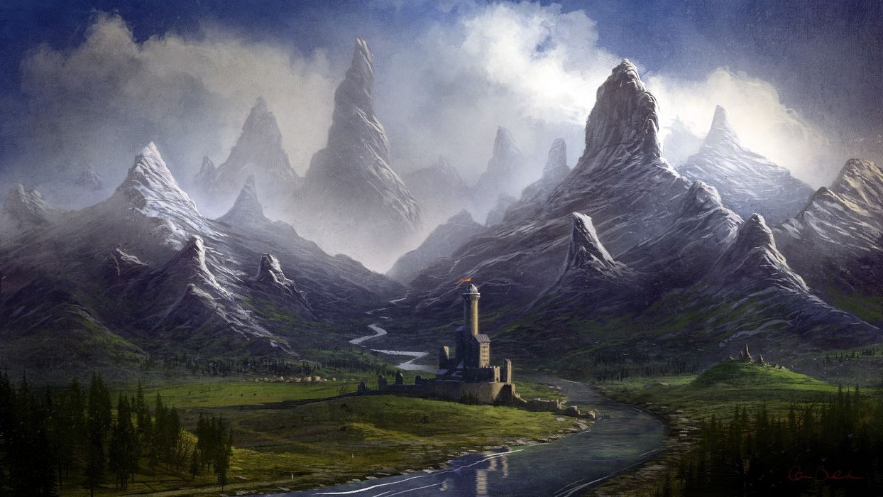 Castle Drawing Mountains wallpaper | 1920x1080 | 132965 ...