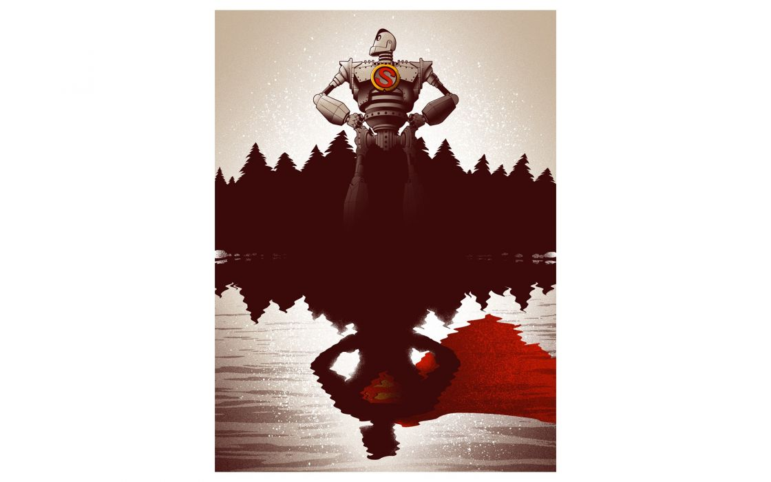 The Iron Giant Robot Reflection White Superman superhero wallpaper