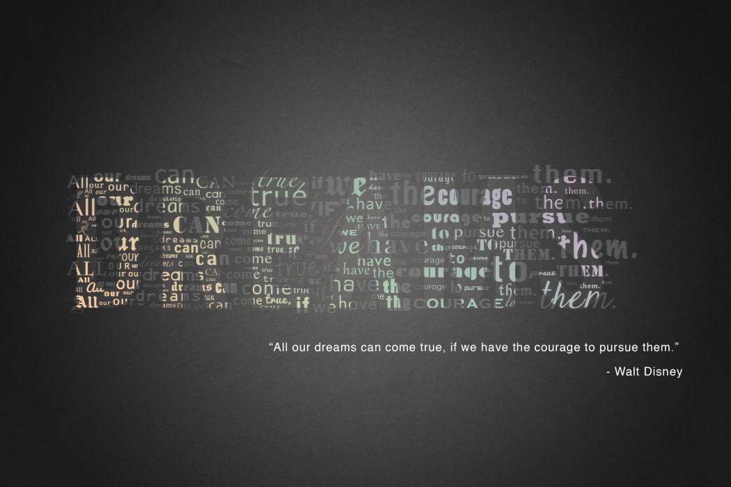 Walt Disney Dreams Pursue Typography wallpaper