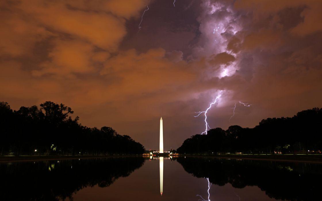 Washington DC Lightning Night Clouds Storm Monument Reflection Wallpaper