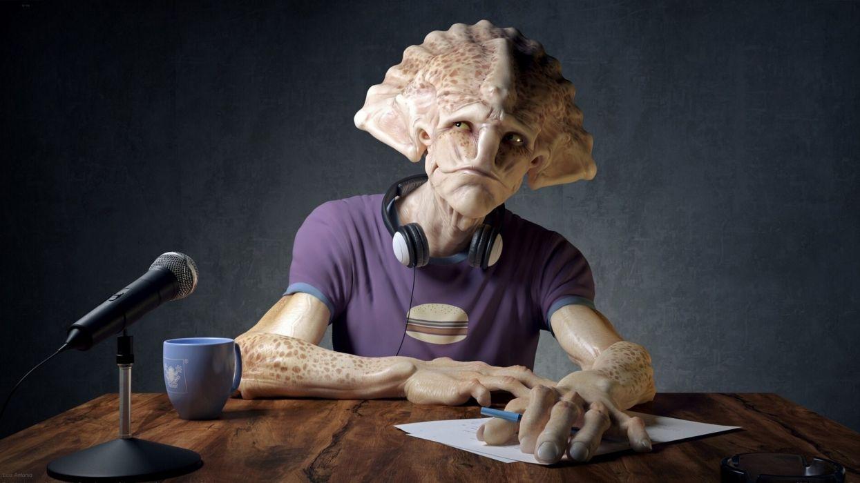 Crank interview microphone headphones fantasy alien sci-fi wallpaper