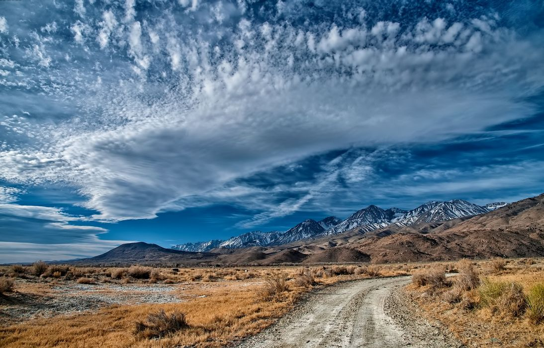 landscape mountain road sky clouds    d wallpaper