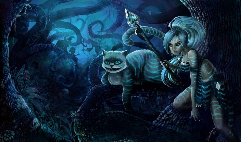 Art Lol League Of Legends Cheshir Nidalee Girl Forest Cat Spear