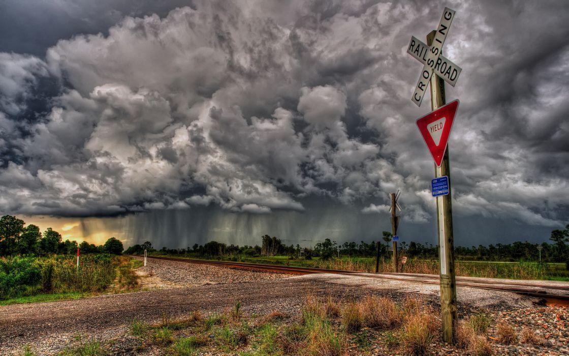 railroad  sign  crossing train sky storm rain hdr clouds wallpaper