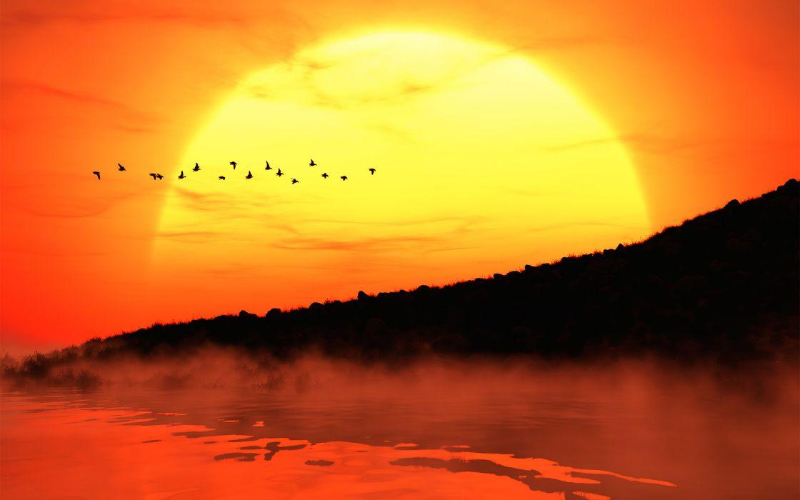 Sunset fog sun beach silhouette wallpaper