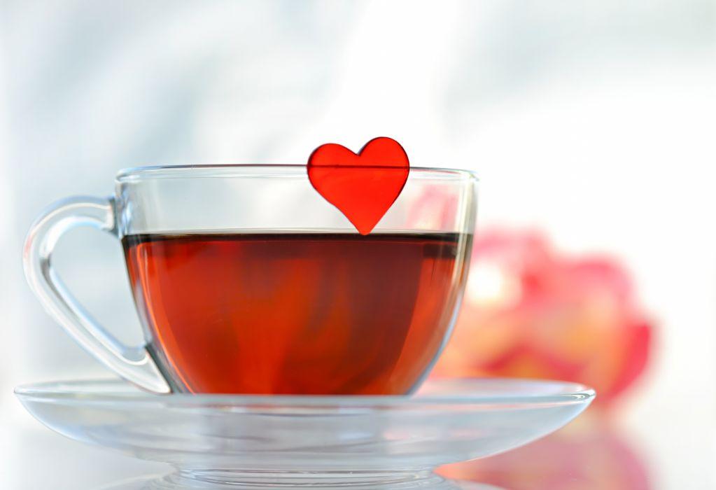 tea heart cup saucer glass mood wallpaper