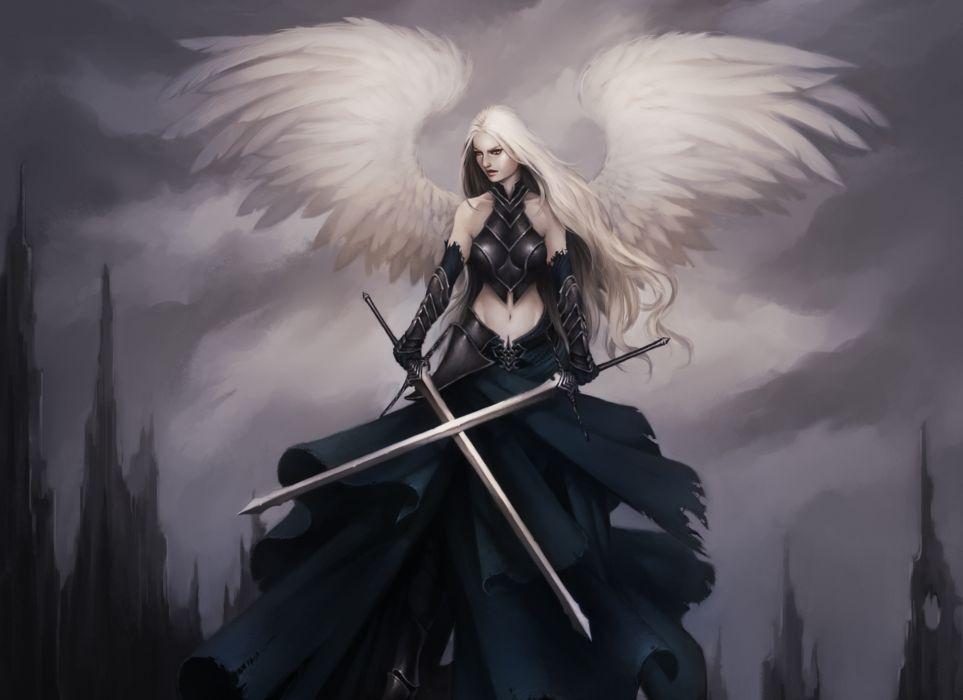 Angel Warrior Sword Wings Armor Fantasy Girl gothic goth wallpaper